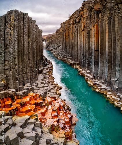 Poster Natuur Breathtaking view of Studlagil basalt canyon, Iceland, Europe.