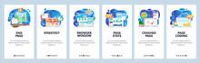 Mobile App Onboarding Screens. Web Development, Coding, Traffic Monitoring, Speedtest. Menu Vector Banner Template For Website And Mobile Development. Site Design Flat Illustration