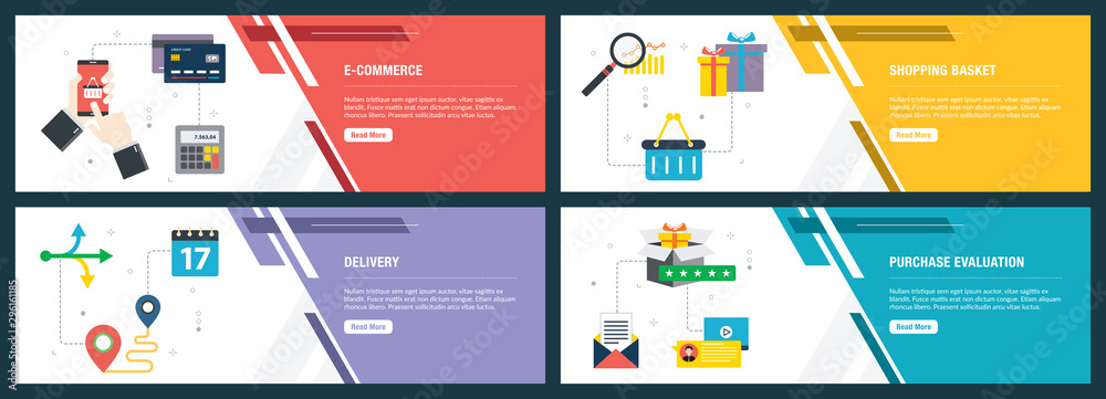 E-commerce, shopping basket, delivery and evalualition.