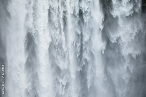 Close-uo of Skogafoss waterfall in Iceland, Europe. - 296161584