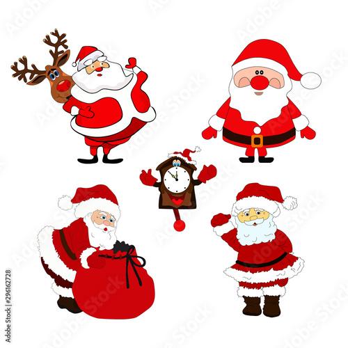 Fototapety, obrazy: Vector Christmas set .Santa Claus and Christmas items. design.