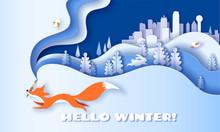 Horizontal Banner Hello Winter With Fox Running