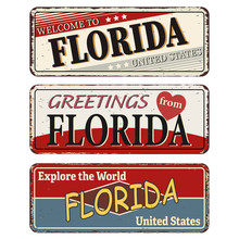 Vintage Tin Sign Collection With US. Florida State. Retro Souvenirs Or Old Paper Postcard Templates On Rust Background