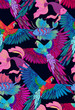 Seamless pattern of parrots and fishs. Suitable for fabric, wrapping paper and the like. Vector illustration
