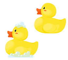 Rubber Ducks In Soapy Foam And...
