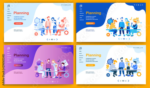 Fotomural  Template for landing page, website, presentation or banner on the topic Planning