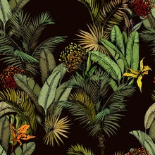 Seamless Pattern With Green Tropical Leaves And Exotic Flowers. Hand Drawn Vector Illustration On Black Background.