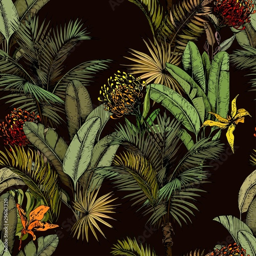 Seamless pattern with green tropical leaves and exotic flowers Tablou Canvas