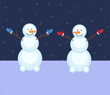 Two Snowmen On A Background Wi...