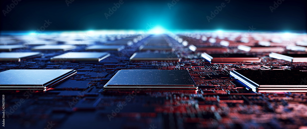 Fototapeta Printed circuit board futuristic server/Circuit board futuristic server code processing. Orange,  green, blue technology background with bokeh