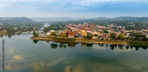 Fototapeta Foggy Morning Over the River and Main Street Marietta Ohio Washington County obraz na płótnie