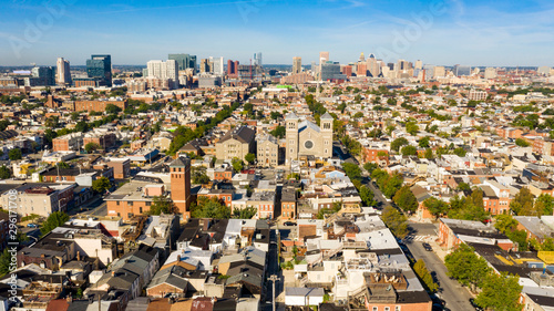 Wide Aerial Perspective over Streets and Neighborhoods of Baltimore Maryland Canvas