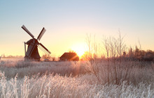 Dutch Windmill At Frosty Winte...