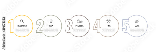 Fototapeta Infographic template for business process. Thin line design with numbers 5 options or steps. Vector illustration graphic design obraz