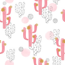 Seamless Watercolor Cactus Pattern. Vector Abstract Illustration With Pink Flowering Cactus