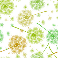 Fototapeta Vintage Seamless pattern of delicate flying dandelions in yellow and green colors. Endless floral texture of spring flowers. Vector macro illustration of dandelion. Design for fabric, paper, wallpaper