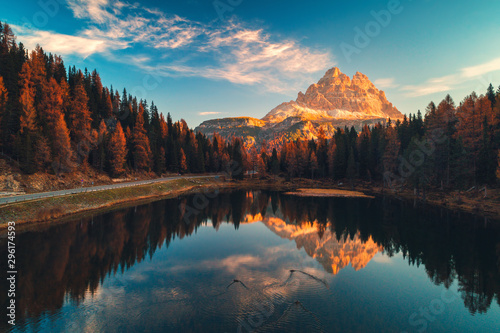 Garden Poster Trees Aerial view of Lago Antorno, Dolomites, Lake mountain landscape with Alps peak , Misurina, Cortina d'Ampezzo, Italy