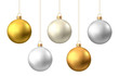Realistic  gold, silver  Christmas  balls  isolated on white background.