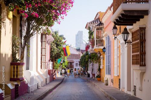 Obraz na plátně  Ciudad Amurallada, Cartagena - Bolívar - Colombia, vista de la arquitectura colo