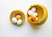Farm To Table Trend: Farm Fresh Eggs In Lovely Colors Nestled In A Basket