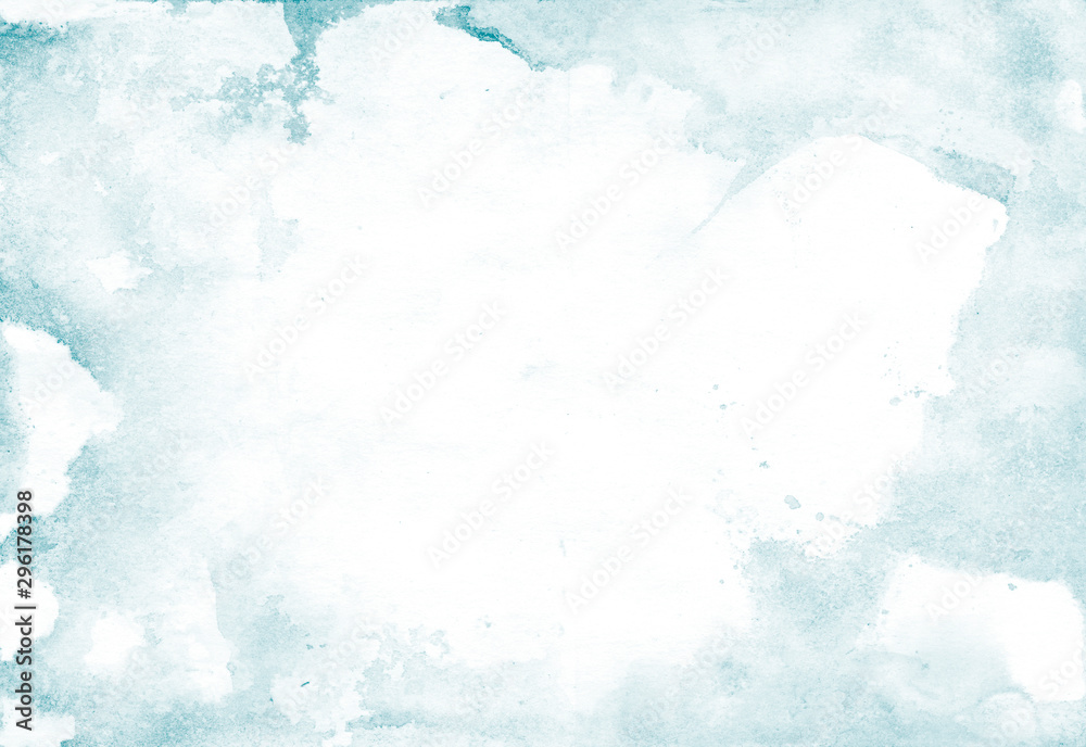 Fototapeta Watercolor background with light blue splashes for artistic banner, template postcard design. Abstract water in trendy minimal style with tender blue ombre painting. Watercolour vintage texture.