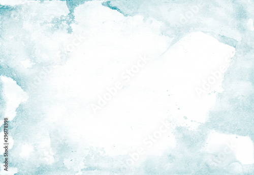 Foto Watercolor background with light blue splashes for artistic banner, template postcard design