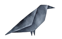 Grungy Origami Raven Watercolo...
