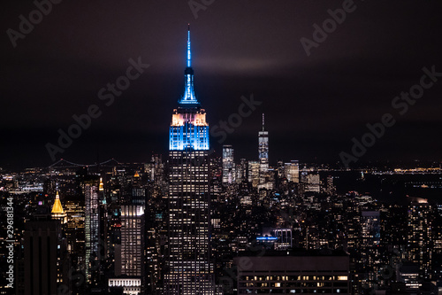 Fotografie, Obraz New York, New York, USA night skyline, view from the Empire State building in Manhattan, night skyline of New York
