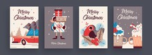 New Year 2020 And Christmas Greeting Card Collection. Cute Holiday Themed Attributes And Situations