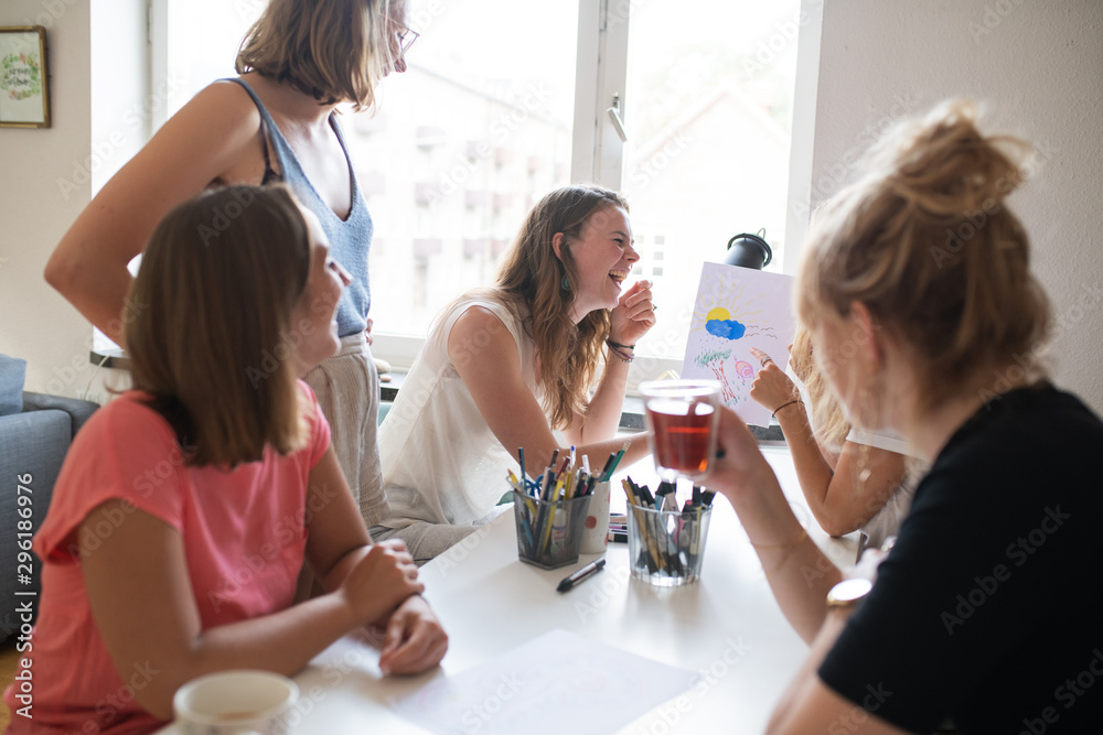 Fototapety, obrazy: Women having a good time while doing cross stitching