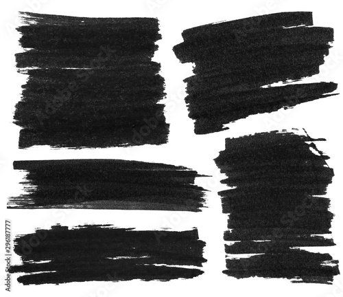Fotografía Set of black marker paint texture isolated on white background