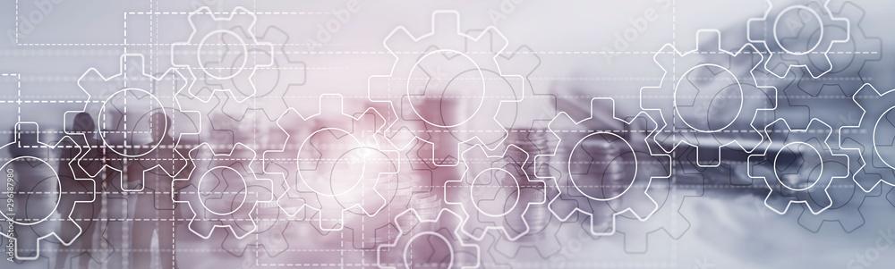 Fototapeta Gears mechanism on panoramic business background. Success Concept.