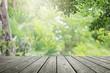 Leinwanddruck Bild - Wooden desk and green leaf nature in garden background.