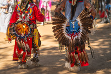 Powwow.  Native Americans Dressed In Full Regalia. Details Of Regalia Close Up.  Chumash Day Powwow And Intertribal Gathering.