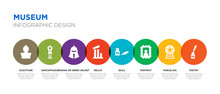 8 Colorful Museum Vector Icons...
