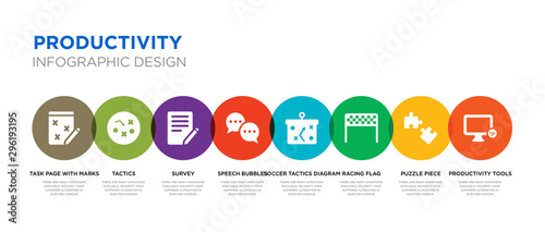 Cuadros en Lienzo 8 colorful productivity vector icons set such as productivity tools, puzzle piec
