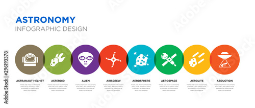 8 colorful astronomy vector icons set such as abduction, aerolite, aerospace, ae Canvas Print