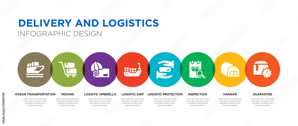 Fototapety, obrazy: 8 colorful delivery and logistics vector icons set such as guarantee, hangar, inspection, logistic protection, logistic ship, logistic umbrella, moving, ocean transportation