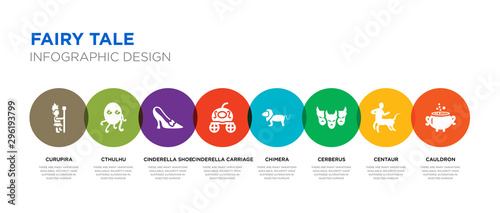8 colorful fairy tale vector icons set such as cauldron, centaur, cerberus, chim Canvas Print