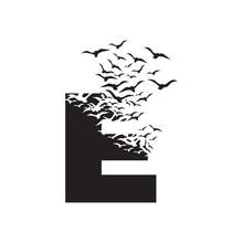 Letter D With Effect Of Destruction. Dispersion. Birds