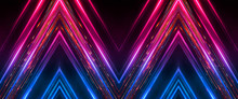 Dark Abstract Futuristic Background. Neon Lines, Glow. Neon Lines, Shapes. Pink And Blue Glow.