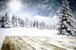Leinwandbild Motiv winter background of free space and snowflakes decoration