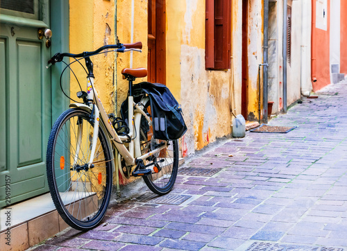 Urban scenery - bike in old town of Rethymnon, Crete, Greece