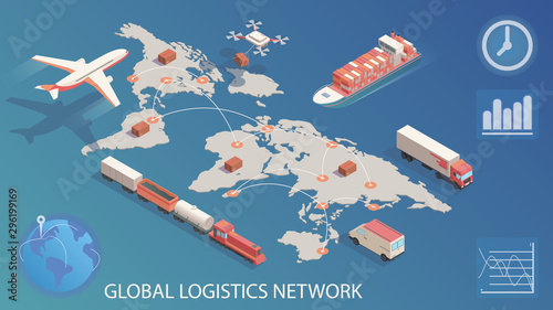 Photo Isometric global logistics network