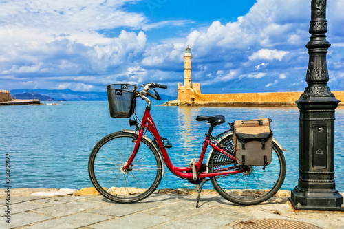 red bicycle in old town Chania in Crete island. Greece