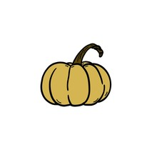 Yellow Pumpkin With A Twisted Stalk On A White Background. Single Hand Drawn Pumpkin. Element For Postcard, Sticker.