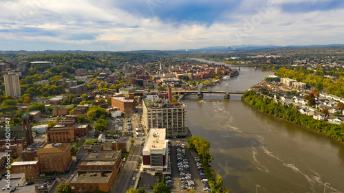 Fotografie, Obraz Aerial Perspective over Downtown Troy New York on the Hudson River