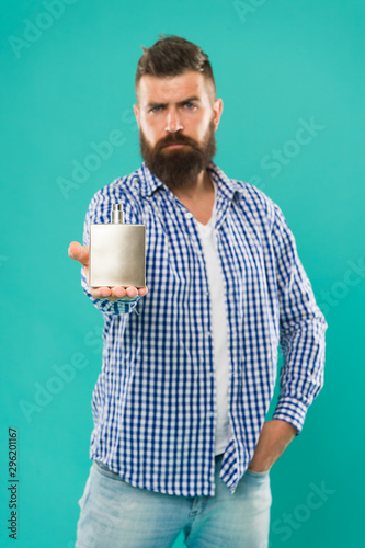 Pleasing Perfume Advertising Bearded Man Hold Perfume Cologne Smell Great Natural Hairstyles Runnerswayorg
