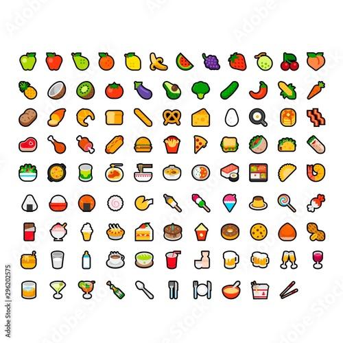 Food and drinks emoji set pack Canvas Print