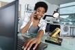 Leinwanddruck Bild - female technician repairing a computer